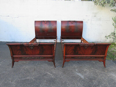 Pair of Flame Mahogany Twin Size Beds by Union Furniture company 8871