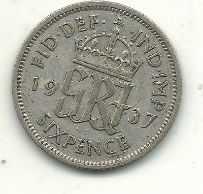 Vintage Better Grade 1937 Great Britain Silver Sixpence Coin-Apr418