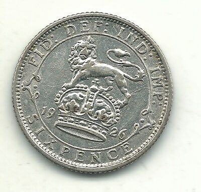Vintage Xf Details 1926 Great Britain Silver Sixpence Coin-Apr421