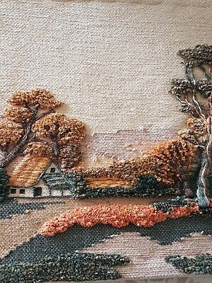 Wool Jute Wall Hanging Tapestry Country Cottage & Trees Scene