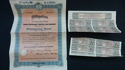 Pre WWI 1908 German 1000 Mark Bond & Coupons Issued by  Hamburg America Line  EX