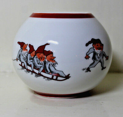 Norwegian Porsgrund candle holder with Santa Barn Elves design