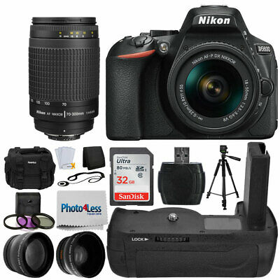 Nikon D5600 Black DSLR Camera w/ 18-55mm VR + 70-300mm +32GB Battery Grip Bundle