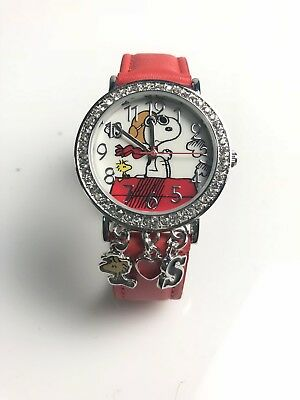 New Peanuts Snoopy Watch WITH HANGING CHARMS RED FAUX LEATHER BAND