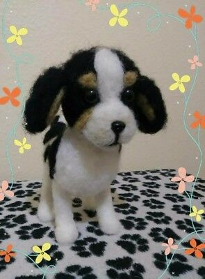 One Of A Kind. Cavalier King Charles spaniel.Needle felted wool sculpture.