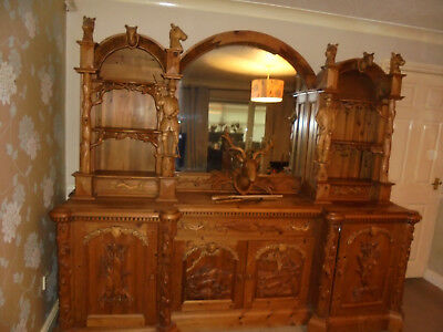 Large Antique reclaimed pine mirrored display cabinet/cupboards/draws/dresser.