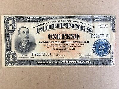 One Peso Philippines Victory Series No.66 Currency of United States JUNE 13,1922
