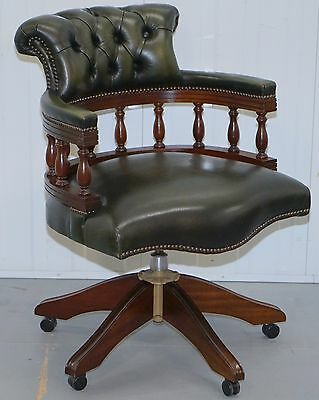 Stunning Vintage Chesterfield Aged Green Leather Style Captains Directors Chair