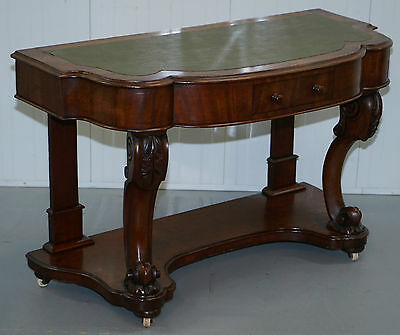 Stunning Hand Carved Mahogany Victorian Scroll Leg Console Table Writing Desk