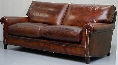 Fully Restored Rrp £10305 George Smith Aged Whiskey Brown Leather Signature Sofa