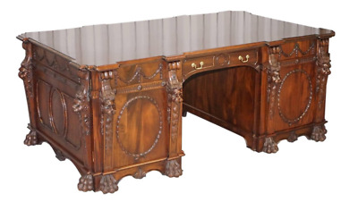 Victorian Pedestal Partner Desk Based On 1767 Thomas Chippendale Nostell Priory