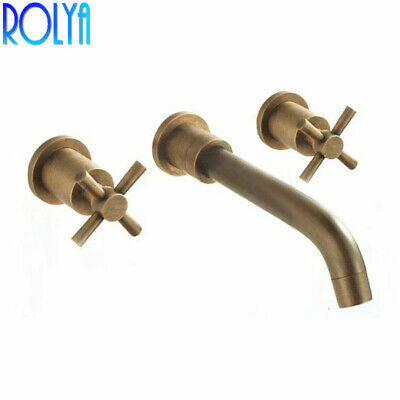 Rolya Antique Brass Wall Mounted Bathroom Faucet Vintage Mixer Taps Basin Sets
