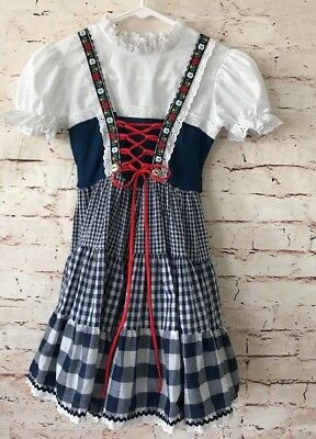 Vintage Genway Girls Dress Button Back Lace Front No Size Tag Blue Gingham