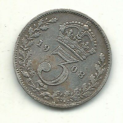 Very Fine Vf Details 1908 Great Britain Silver 3 Three Pence Coin-Bent-Apr436