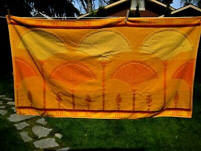Vintage Large Canon Seven Seas Bath Towel W Orange And Gold Mod Retro
