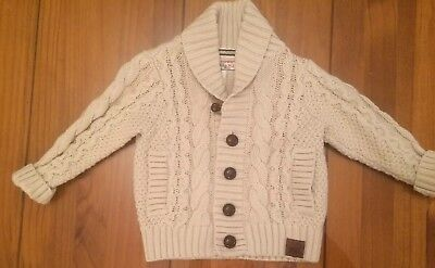 Notting Hill W.11 Monsoon Cable Knit Boys Cardigan Beige 12-18 Months