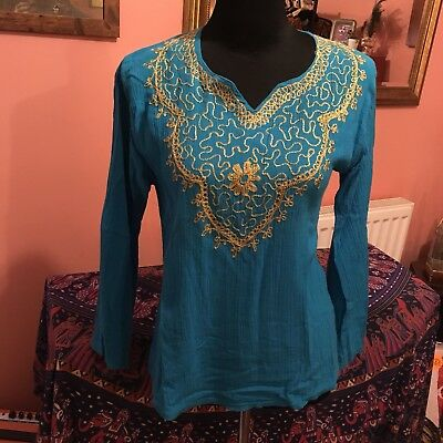 Vintage 60s 70s Embroidery Indian Cheesecloth Hippie Tunic Top S