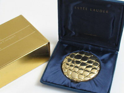 Vintage Estee Lauder Signature Golden Aligator Face Powder Compact Mirror