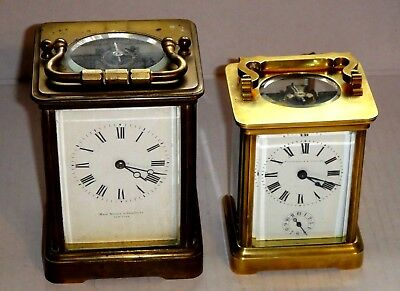 1 Antique French Repeater Carriage Clock & 1 Carriage Clock w/ Alarm