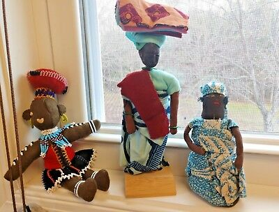 Lot of 3 Handmade African Dolls~9'', 8'', 5''~Very Nice