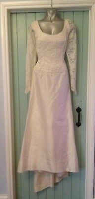 Classic Raw Silk and Lace Vintage Wedding Dress