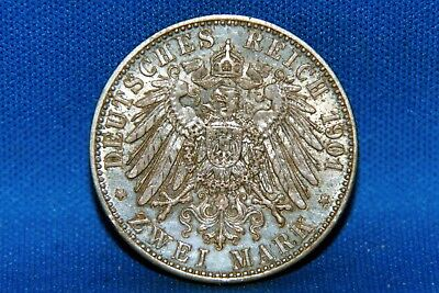 1901 Germany Prussia 2 Marks Silver Coin