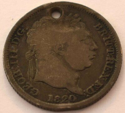 1820 Great Britain .925 Schilling Holed George Iii Coin