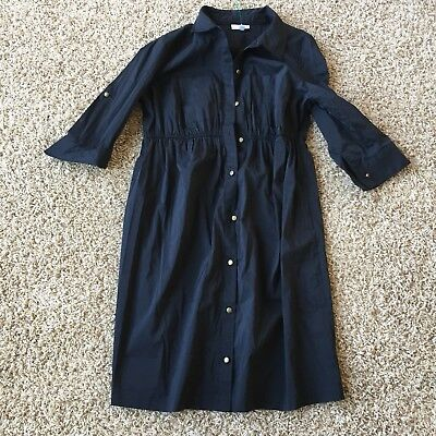 A PEA IN THE POD Maternity Womens Medium Black Button Down Front Dress/Tunic