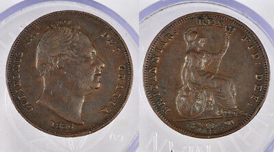 1836 Great Britain William Iv Farthing Copper Coin !!!