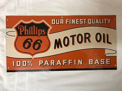 Vintage Phillips 66 Motor Gas/Oil Double Sided Sign 7/1/1940