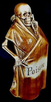 Shafer & Vater Germany Porcelain Figural Skeleton Poison Flask Bottle w Stopper