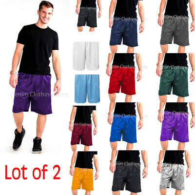Lot Of 2 Men's Mesh Jersey Athletic Fitness Workout Shorts With 2 Pockets  S-5XL