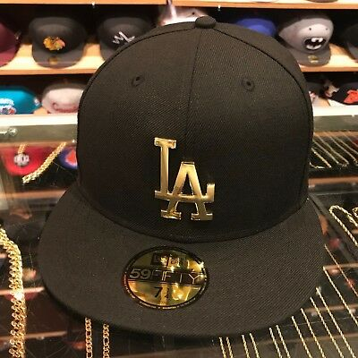 pretty nice 7fc23 c1fa0 New Era Los Angels LA Dodgers Fitted Hat BLACK GOLD Metal Badge