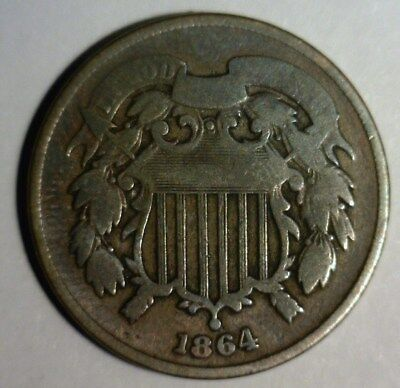 "1864  Two Cent Piece  Circulated  ""civil War Era""   Nice Looking Coin!!!"
