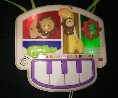 Fisher Price Cot Luv U Zoo Crib to Floor Activity Piano Soothing Sounds & Lights