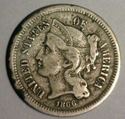 1866  Three Cent Nickel  Circulated   Nice Looking Coin!!!