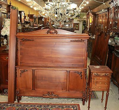 Antique French Walnut Louis XVI Full Size Bed & Nightstand Bedroom Furniture Set