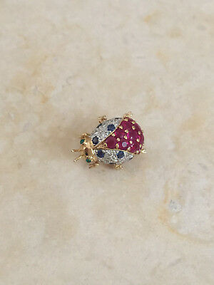 LEVIAN 18K Gold Ladybug Pin Brooch. DIAMONDS, RUBIES, SAPPHIRES AND EMERALDS !
