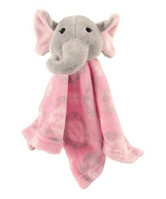 Hudson Baby Security Blanket Pink Elephant Gray Gift Shower 14 x 14 Soft Blankie