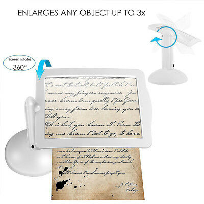 Table Lamp Reading Magnifier Practical Rotate White 3X Office Magnifying Tool