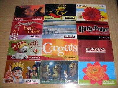 Borders   12 different new and used collectible gift cards