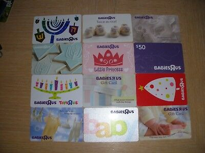 Babies-R-Us   12 different new and used collectible gift cards