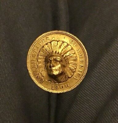 Rare  Gilt 1908 Blow Out Native American Indian Penny Token Coin Hatpin