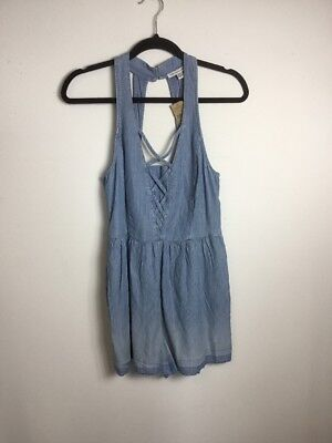 5bcf0e75e69 NWT American Eagle blue white chambray romper lace up from size small - SO  CUTE