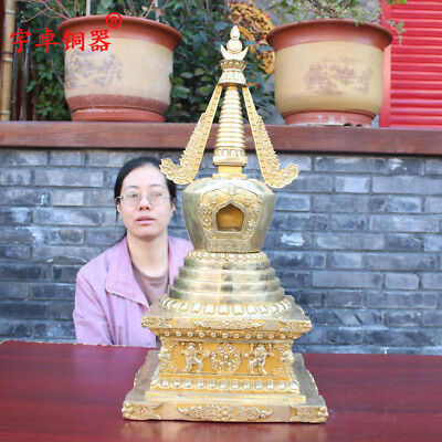 28'' China Tibet Temple Pagoda Tower Stupa Gilt Bronze Statue