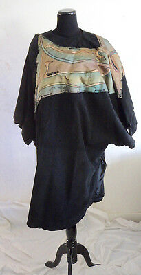 Signed Paris couture Antoinette Schindler black suede hand painted silk coat