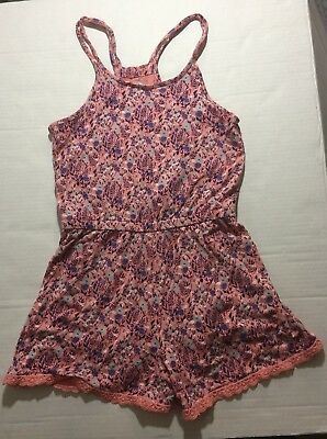 Old Navy Girls Romper Pink Floral Pattern Size Medium (8)