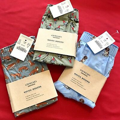 3 NEW Crewcuts J Crew BOYS BOXERS UNDERWEAR SZ Med Gnomes Fox Dog Cotton Lot NWT