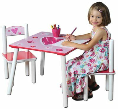 Hearts Design Children s Table With 2 Chairs Set, Fiberboard,