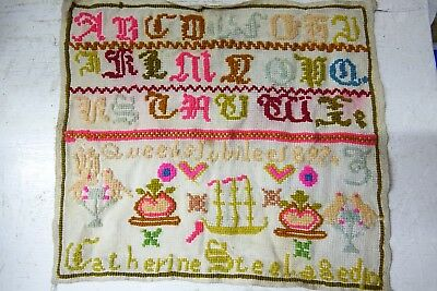 Colourful Early Sampler - Catherine Steel Age 10 - 1897 Queens Jubilee - Rare